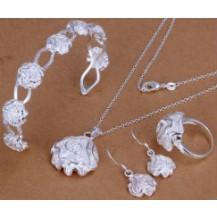 Набор Tiffany 925 (браслет,серьги, кольцо 18р, кулон, цепочка) TF100