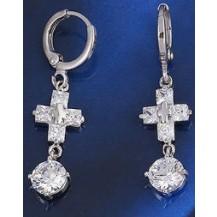 Серьги белая позолота крестики с цирконом (GF230)