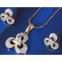 Набор серьги, кулон, цепочка позолота Gold Filled (GF244)
