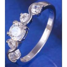 Кольцо 5 цирконов белая позолота Gold Filled (GF475) Размер 16