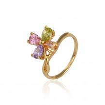 Кольцо позолота Gold Filled с разноцветными цирконами (GF460) Размер 17