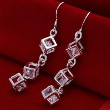 Серьги Куб Tiffany (TF132). Покрытие серебром 925