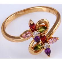 Кольцо Цветы позолота с разноцветными цирконами Размер 18 (gf639