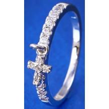 Кольцо Крестик белая позолота с цирконами (gf690) Размер 18