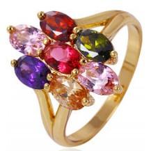 Кольцо позолота с разноцветными цирконами Размер 18 (gf654