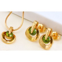 Набор серьги, кулон, цепочка позолота зеленые цирконы (GF727