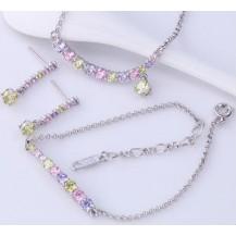 Набор серьги, кулон, цепочка, браслет белая позолота цирконы (GF762