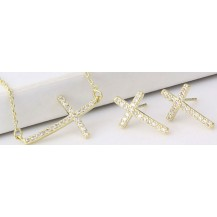 Набор серьги,крестик на цепочке позолота Gold Filled (GF703)