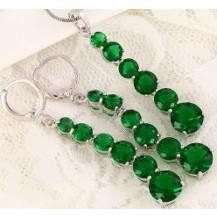 Набор серьги, кулон, цепочка позолота зеленые цирконы (GF745