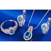 Набор серьги, кулон, цепочка, кольцо Размер17 белая позолота голубые цирконы (GF747