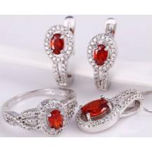 Набор серьги, кулон, цепочка, кольцо Размер17 белая позолота рубиновые цирконы (GF748