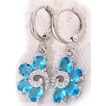 Серьги белая позолота с голубыми цирконами (gf586