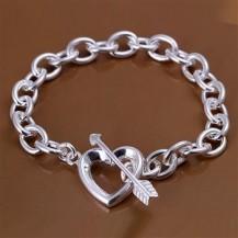 Браслет сердце со стрелой Tiffany (TF-H034-2). Покрытие серебром 925
