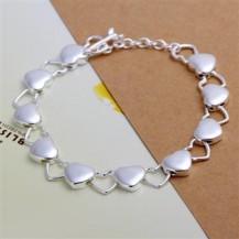 Браслет сердечки Tiffany (TF-H192). Покрытие серебром 925