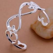 Браслет сердечки Tiffany (TF-b006). Покрытие серебром 925