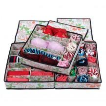 Набор органайзеров из 3х штук для белья с крышкой - Цветы