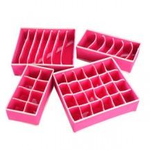 Набор органайзеров для белья (4шт) эконом Розовый