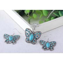 Набор Бабочки Бирюза  серьги кулон цепочка (TL9264)