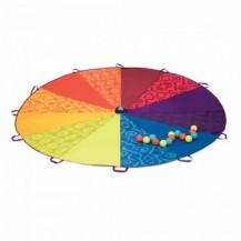 Командная игра - РАДУЖНЫЙ ПАРАШЮТ (диаметр 245 см, в комплекте 15 пластиковых шариков) от Battat - под заказ