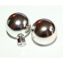Серьги гвоздики Диор Dior Зеркальные серебристые с камнем