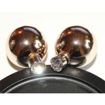 Серьги гвоздики Диор Dior Зеркальные золотистые с камнем