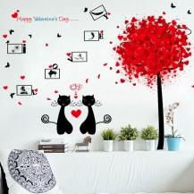 Интерьерная наклейка на стену Влюбленные Коты XL8266