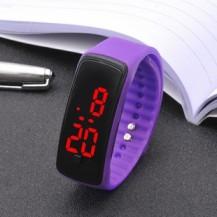 Спортивные силиконовые часы-браслет LED Сиреневые SW2-11