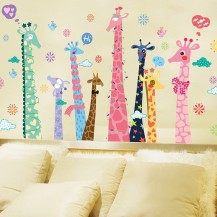 Интерьерная наклейка на стену Разноцветные Жирафы XL9010A