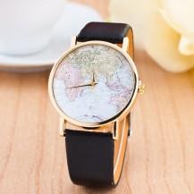 Часы Женева geneva Карта черный ремешок 142-2