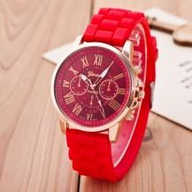 Часы Женева Geneva Римские цифры силиконовый ремешок Красные 147-2