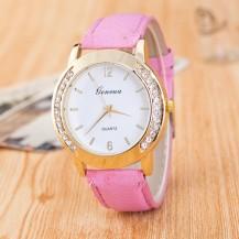 Часы Женева Geneva Полукруг розовый ремешок