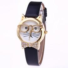 Часы женский Кошка черный ремешок 140-1