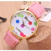 Часы наручные женские GENEVA в горошек розовые