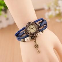 Часы - браслет с подвеской ключик Синие 137-1