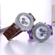 Часы со стразами Geneva Crystal женева Сиреневые 011-6