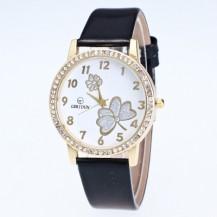 Часы женские Цветы Стразы черные 135-1