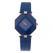 Часы с геометрическим циферблатом синие 072-4