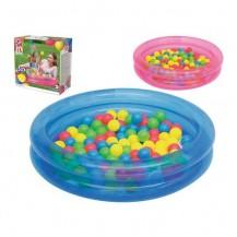 Детский надувной бассейн с шариками (розовый)