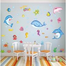 Детская интерьерная наклейка на стену Рыбки XL7159