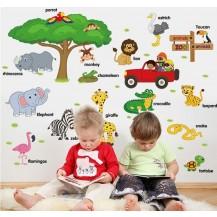 Детская интерьерная наклейка на стену Зооапарк на английском SK9084