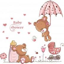 Детская интерьерная наклейка на стену Мишки Тедди AY7194