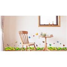 Интерьерная наклейка на стену Заборчик с бабочками bAM825
