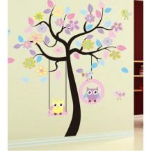 Интерьерная наклейка на стену в детскую Совы на дереве bJM7186