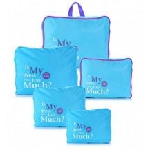 Дорожный набор сумок органайзеров, 5штук Голубой