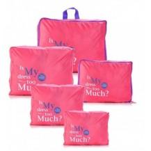 Дорожный набор сумок органайзеров, 5штук Розовый