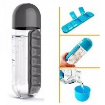 Бутылка для воды с органайзером для таблеток Pill & Vitamin Черная