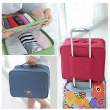Дорожная сумка органайзер для путешествий с ручкой на чемодан Синяя