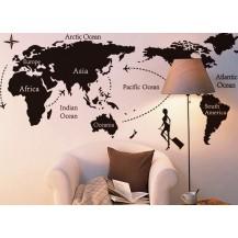 Интерьерная наклейка на стену Карта Мира (ay9134)