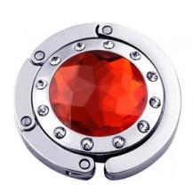 Крючок держатель для женской сумки Кристалл Красный