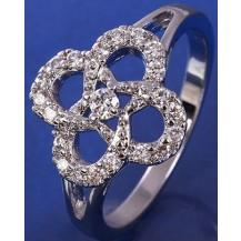 Кольцо Ажурное белая позолота с цирконами GF823 разм 17